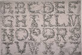 alphabet of capital letters with metaphorical ornaments