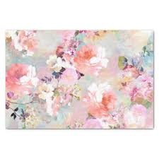 floral tissue paper pink teal watercolor chic floral pattern tissue paper