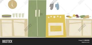 retro kitchen appliances header border scene stock vector u0026 stock