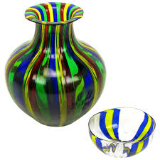 Italian Glass Vases Italian Handblown Art Glass Vase With Bowl By Oggetti For Sale At