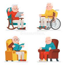 Cartoon Armchair Old Man Characters Sit Sleep Web Surfing Read Armchair Wheelchair