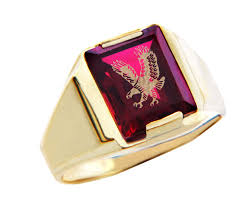 mens gold ring men s gold rings the garnet and gold eagle ring