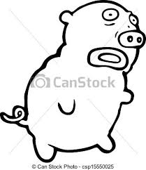 vector illustration ugly pig cartoon csp15550025