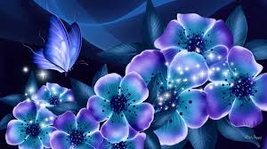 Blue And Purple Flowers Nights Blue Dreams Wallpaper Allwallpaper In 13594 Pc En