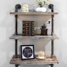 Industrial Pipe Bookcase Wooden Slat Pipe Shelf Wayfair