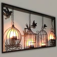 Modern Wall Art Birdcage Tea Light Wall Art Metal Wall Hanging Candle Holder Black