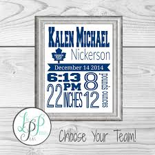 Nursery Decor Toronto Hockey Birth Stats Print Hockey Nursery Sports Nursery Decor
