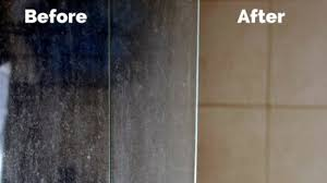 remove soap scum and hard water stains from glass shower doors
