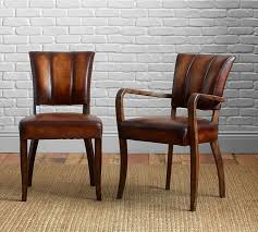Leather Dining Room Chairs With Arms Elliot Leather Dining Chair Pottery Barn