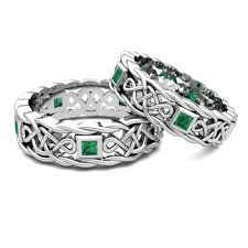 celtic wedding ring sets his hers wedding band in platinum celtic emerald wedding ring