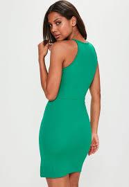 90s dress green 90s neck mini dress missguided
