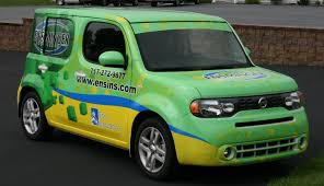scion cube custom full color vinyl vehicle wrap on nissan cube for ensminger
