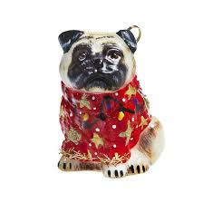 dogs pug fawn in sweater glass ornament