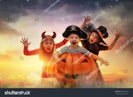 halloween kids background happy brother two sisters on halloween stock photo 487002673