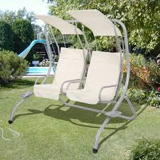 Lounge Swing Chair Garden Patio Metal Swing Chair Seat 2 Seater Hammock Swinging