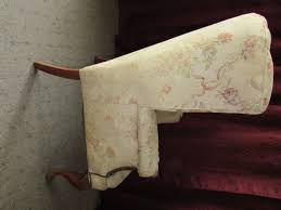Tack Upholstery Lot Detail Antique Wing Back Arm Chair With Carved Legs U0026 Brass