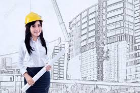beautiful young female architect holding blueprint on construction