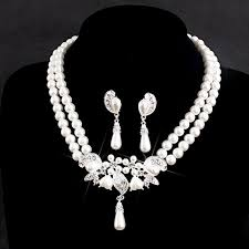bridal necklace set pearl images Affordable ivory pearl bridal jewelry sets for wedding bride jpg