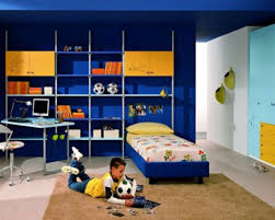cool boys bedroom decorating idea with fc barcelona theme printed