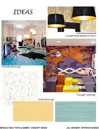 Jill Seidner Interior Design Online by Miracle Mile Toys U0026 Games Retail Store Ideas Concept Board 3 Www