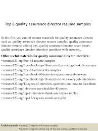 Quality Resume Examples Top 8 Quality Assurance Director Resume Samples 1 638 Jpg Cb U003d1431333647