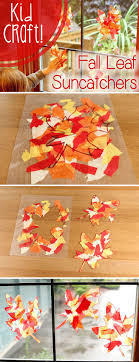 kid fall craft beautiful leaf suncatchers catcher leaves and craft