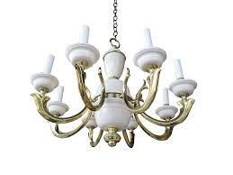 Brass Lighting Fixtures by Georgian Art Lighting Brass And Porcelain Eight Arm Chandelier