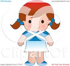 cute scottish wearing a flag of scotland shirt clipart