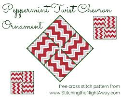 peppermint twist chevron free cross stitch ornament pattern