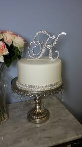 rhinestone cake 5 monogram wedding acrylic cake topper crystals