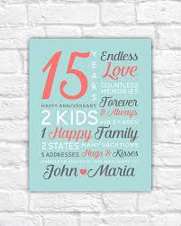 15 year anniversary gift for him personalized anniversary gifts wedding date canvas 15th