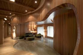 curved wood wall one taste holistic health club in hangzhou zhejiang by crox