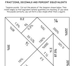 tangram puzzle fractions decimals percents tangram puzzle by ms math tpt