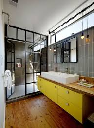 awesome bathroom with yellow vanity cabinet drawers and vessel