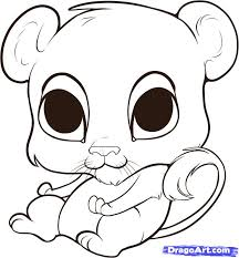 easy to draw cute animal drawings litle pups cartoons