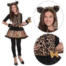 sassy spots leopard fancy dress girls costume witches cat