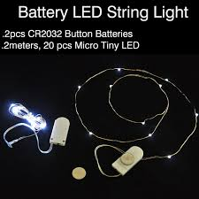 10pcs lot cr2032 button battery operated 2m 20 micro led string
