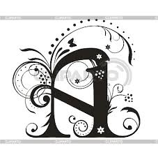 decorative letter a with flowers for design stock vector