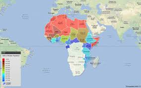 africa map in africa map of ratio of muslim population in continental africa by