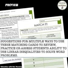 linear inequalities from word problems task card activity tpt