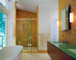 bathroom sloped ceiling and orange mosaic tile wall in glass