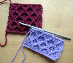 a tutorial on how to crochet the diamond trellis stitch using