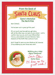 personalized letter from santa custom personalized card from santa mailed to your children for