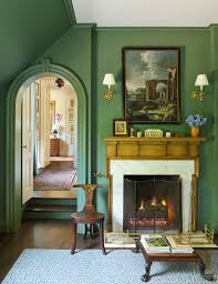 grass green with antique mantel and white surround country