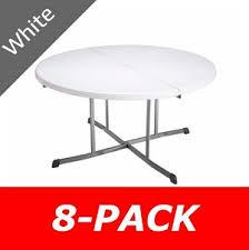 lifetime 5402 8 pack 60 in round white granite fold in half table