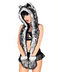 spirit halloween returns black husky spirit animal furry hood iheartraves