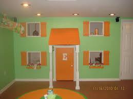 playroom design orange green basement playroom design with hanging toy plane