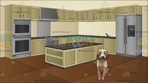 big modern kitchen a big furry tan dog with a modern kitchen background cartoon