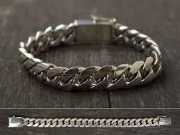 mens silver bracelet chain images Heavy silver chain bracelet for men handmade length to order jpg