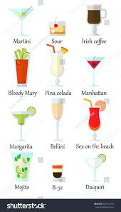 cocktail drinks names big cocktail set including most popular stock vector 542112727